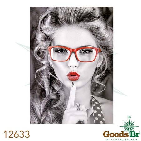 tela impressa mulher oculosvermelho  70x50x3cm