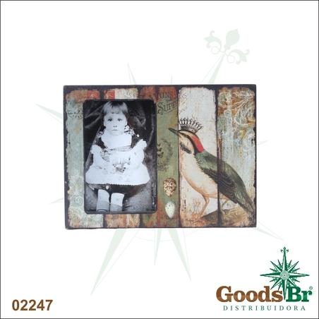 -porta retrato caixa passarocom coroa  18x24x5cm