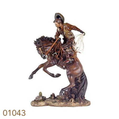 cowboy domando cavalo  46x31x20cm
