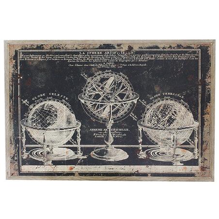 quadro globos e astrolabio 80x120x3cm