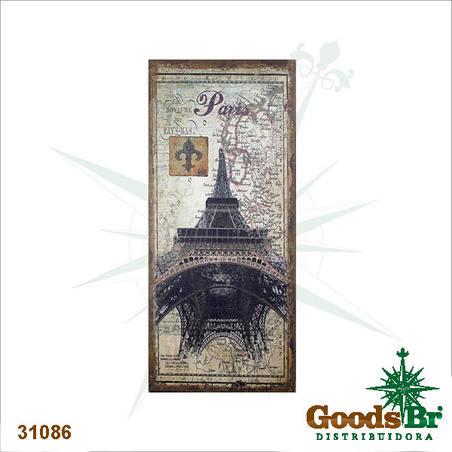 tela antique eiffel paris linho  127x56x4cm