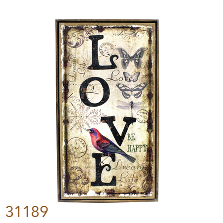 -quadro linho antique love  130x70x4cm