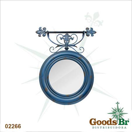 espelho redon azul velho  90x76x6cm