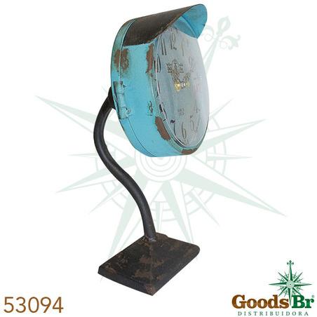 relogio mesa ferro azul envecido  30x15x14cm
