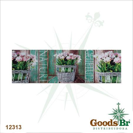 tela impressa flores quietude nature  30x100x3cm