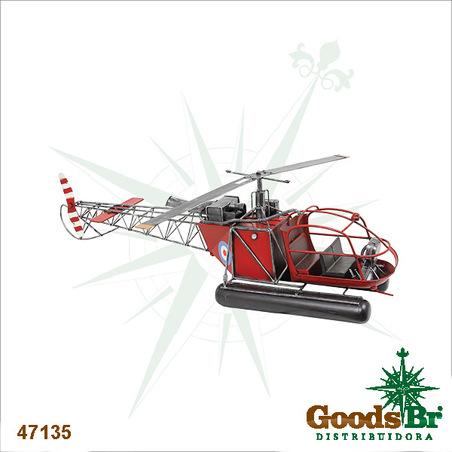 helicoptero vermelho em metal  24x82x19cm
