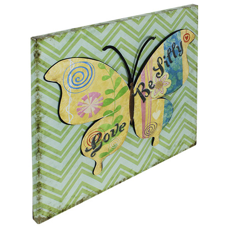 -placa de metal borboleta verde  50x50x2,5cm
