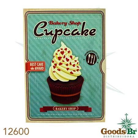 -tela impressa cup cake marrom 70x50x4cm