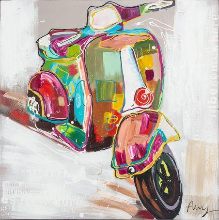 quadro pintura lambretta classic  90x90x4cm