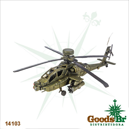 helicoptero verde em metal42x48x15cm