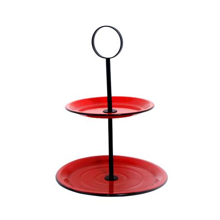 fruteira de mesa 2 andares vermelha 49x33x33cm