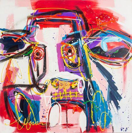 -quadro pintura abstrata boi110x110x4cm