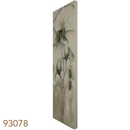 quadro pintura flor vertical branca  150x50x4cm