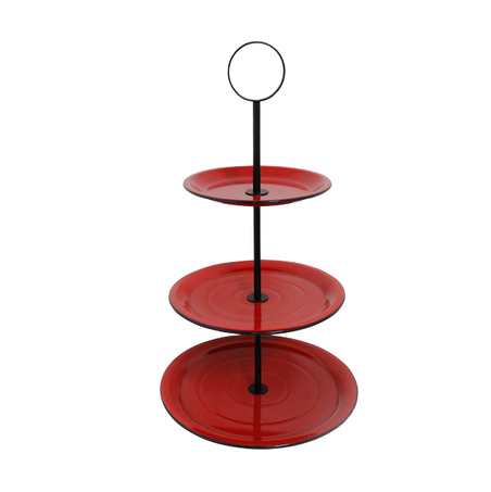 fruteira de mesa 3 andares vermelha 68x40x40cm