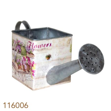 regador zinco quadrado flores 28x10x10cm
