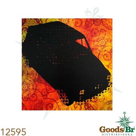 -tela impressa fiat 500 fundo  laranja  60x60x4cm