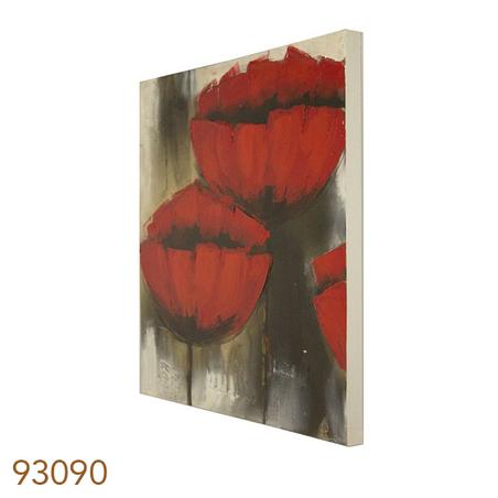-quadro pintura flores vermelhas  60x60x3cm