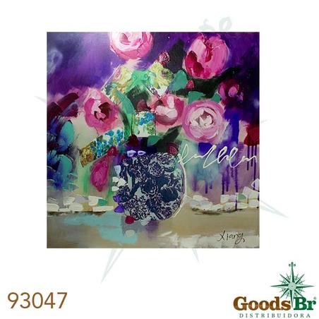 -quadro pintura vaso cheio de rosas  90x90x4cm