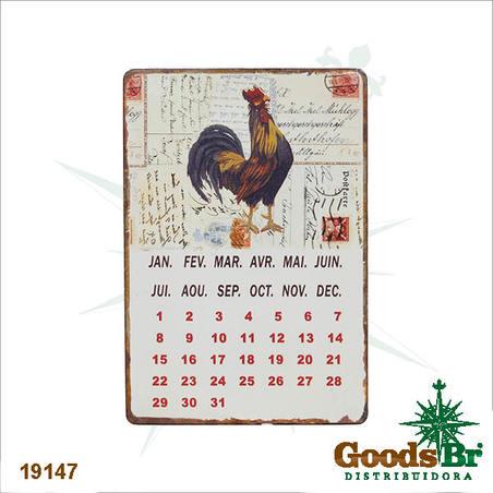 -calendario magnetico em metal galo  21x14x0,1ccm