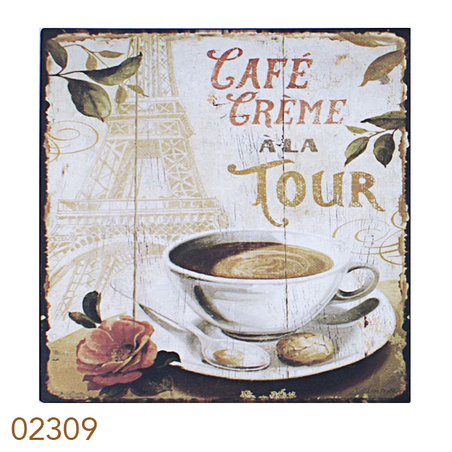 placa de metal cafe a la tou 25x25cm