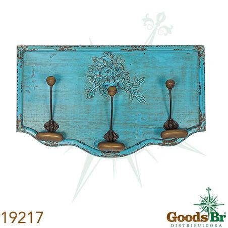 gancheira em madeira azul 3ganchos  37x62x9cm