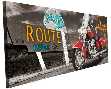 -tela impressa c led moto vermelha  70x195x4cm