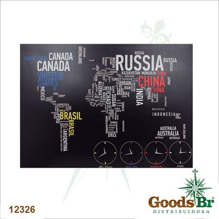 tela leds mapa relogio mundo  100x140x4cm