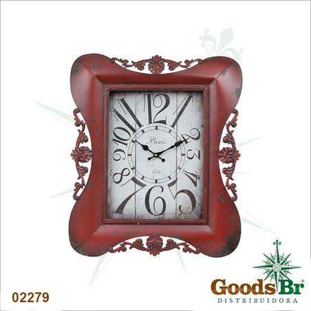 relogio classic arabesco vermelho  65x54x5,5cm