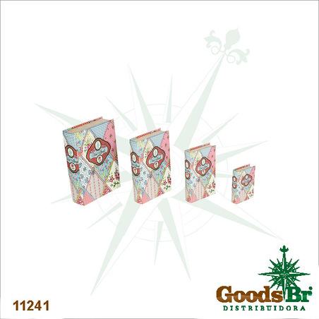 book box cj 4pc patchwork  30x21x7cm