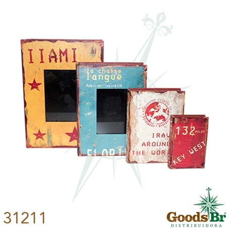 -book box cj 4pc com porta retrato cores  37x27x8cm