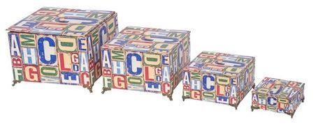 caixas cj 4pcs alfabeto design  27x27x17cm