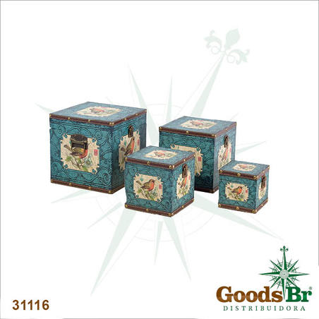 -caixas cj 4pc azul arabescopassaro  24x24x24cm