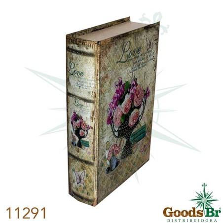 -book box cj 3pc vaso de flores love seda  33x22x7cm