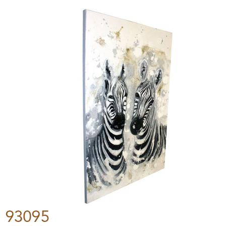 -quadro pintura 2 zebras lado a lado  120x80x4cm