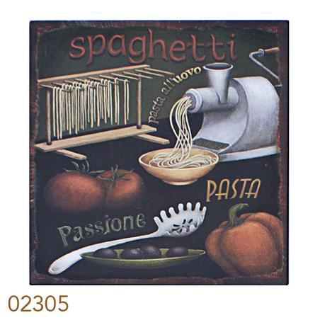 -placa de metal spaghetti  25x25cm