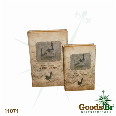 book box cj 2pc birds  33x22x7cm