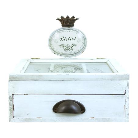 caixa em madeira porta talheres branca 30x35x29cm