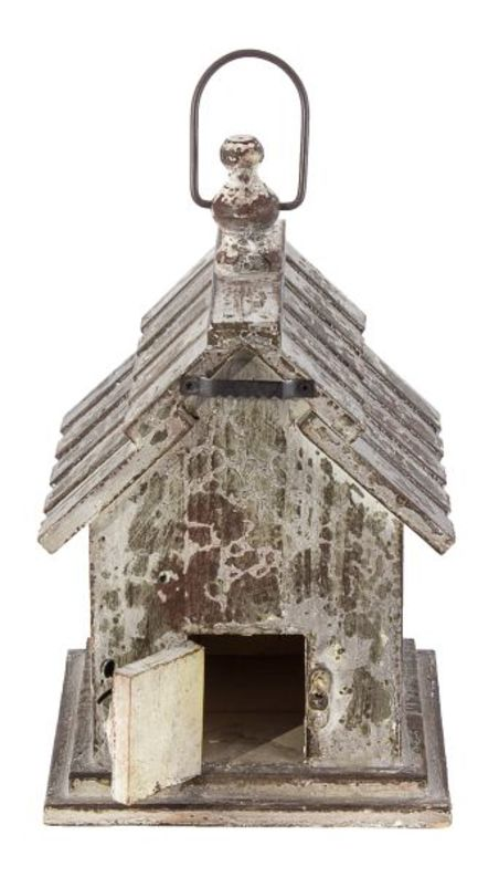 casa passaro tradicional cinza  17x17x28cm