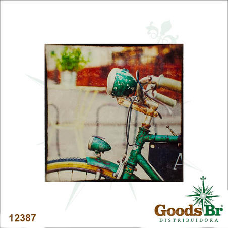tela impressa frente de bike azul  60x60x3cm