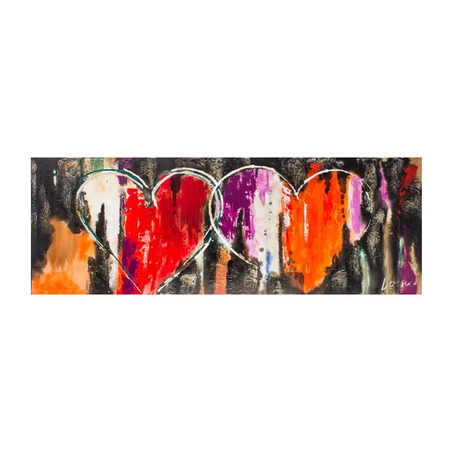 -quadro pintura dois coracoes  70x200x4cm