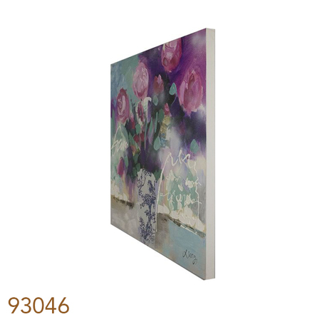 quadro pintura vaso com rosas 90x90x4cm