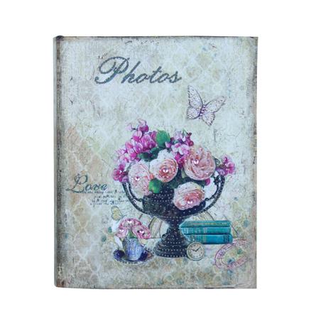 -album de fotos vaso de flores love seda  23x19x6cm