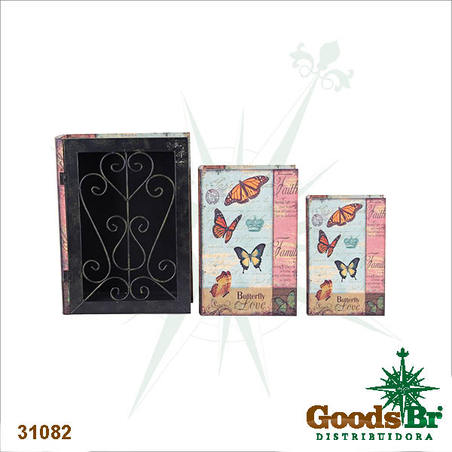 book box cj 3pc grade iron borboletas  35x26x9cm