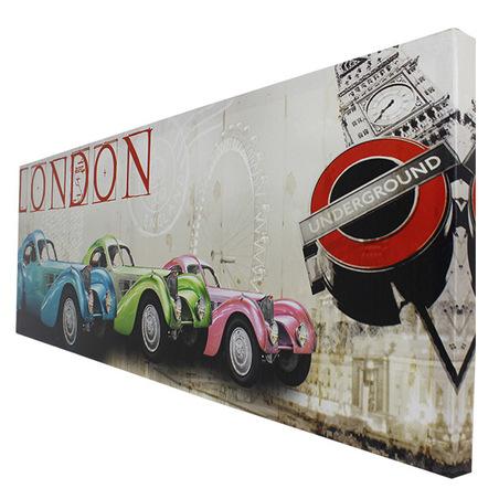 -tela impressa london candy cars  30x90x2,5cm