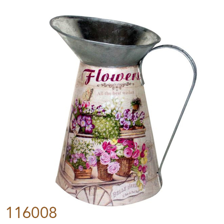 jarra em zinco flores  27x23x18cm