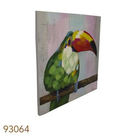 -quadro pintura tucano no galho  120x120x4cm