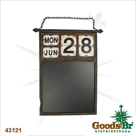 calendario em metal c quadro negro 88x55x5cm
