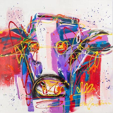 -quadro pintura abstrata vaca  110x110x4cm