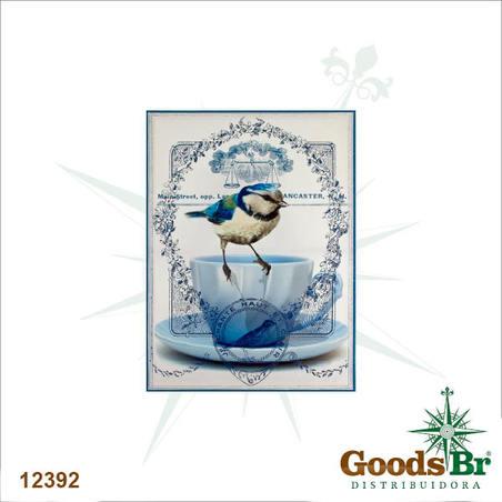 tela impressa passaro azul fundo azul  70x50x3cm
