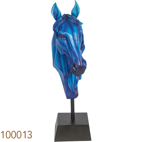 -escultura busto cavalo blue 72x34x19cm